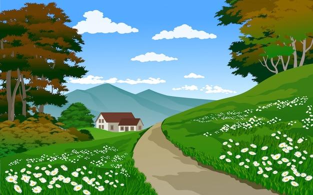 Красивый деревенский пейзаж с домом