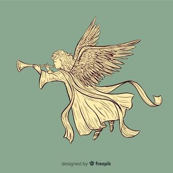 Красивый старинный рождественский ангел