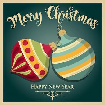 Beautiful vintage christmas card with christmas balls