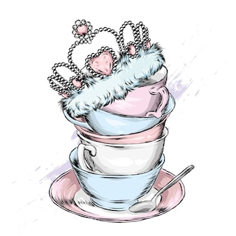 Beautiful vintage cups, saucers and crown.  illustration.