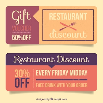 Beautiful vintage discount coupons of restaurant