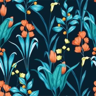 美しいヴィンテージ花柄シームレスパターン