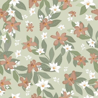 葉のシームレスなパターンを持つ美しいヴィンテージ花。