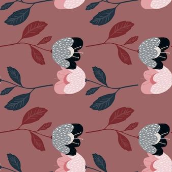 Бесшовный узор из красивых старинных цветов на красном фоне. текстура ретро ботаники.