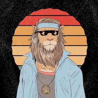 Beautiful vintage hippies lion illustration for t-shirt