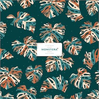 Beautiful vintage monstera leaves pattern