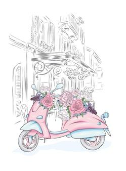美しいヴィンテージ原付と街の通りの花の花束