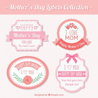 Beautiful vintage mother's day labels with pink details