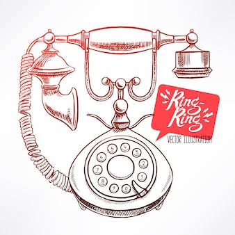 Красивый старинный телефон. рисованная иллюстрация