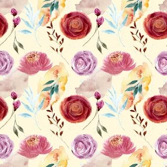 아름 다운 빈티지 장미 꽃 수채화 원활한 패턴