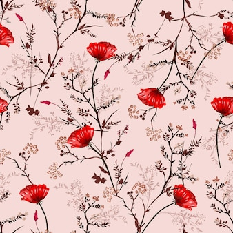 Beautiful vintage seamless pattern hand drawn red blooming poppy flowers