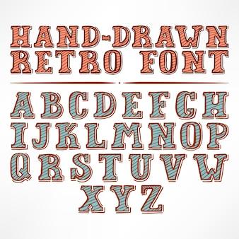 아름 다운 빈티지 스트라이프 손으로 그린 글꼴