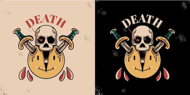 Beautiful vintage tattoo skull and sword illustration