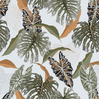 Beautiful vintage tropical exotic leaves ,plants and botanical seamless pattern illustration