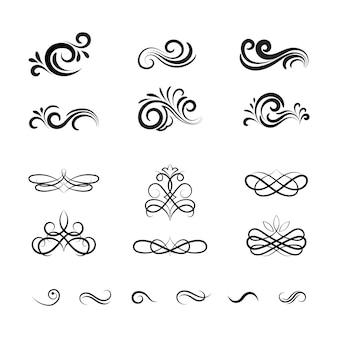 Красивые старинные векторные декоративные элементы и украшения