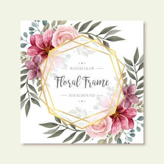 Beautiful vintage watercolor floral flowers golden frame background
