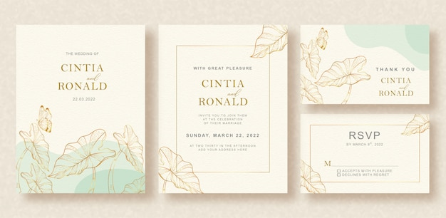 Beautiful vintage wedding card with gold tropical leaves outlines