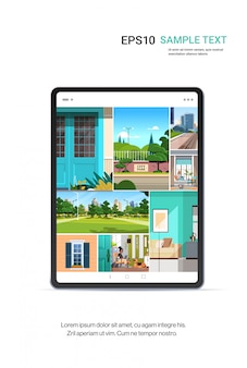 Beautiful wallpapers on gigital tablet screen realistic mockup gadgets and devices concept