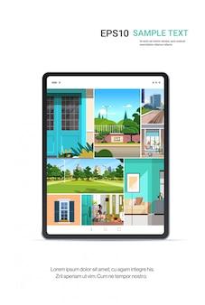 Gigital 태블릿 화면 현실적인 모형 도구 및 장치 개념에 아름다운 배경 화면