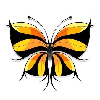 흰색 바탕에 아름 다운 수채화 추상 반투명 나비. 날개는 젖은 수채화 튀는 것처럼 보입니다.