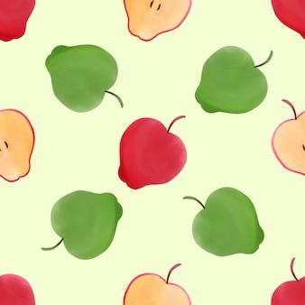 Beautiful watercolor apple green red seamless pattern