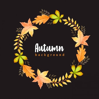 Beautiful watercolor autumn leaves wreath background template