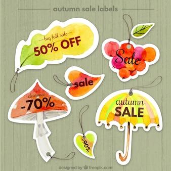 아름다운 수채화 가을 판매 스티커