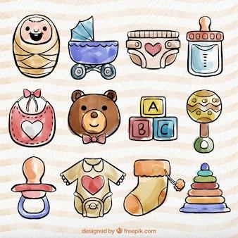 Beautiful watercolor baby items