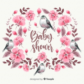 Beautiful watercolor baby shower template