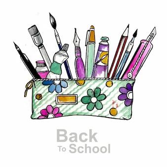 Bellissimo acquerello torna a illustrazione della scuola