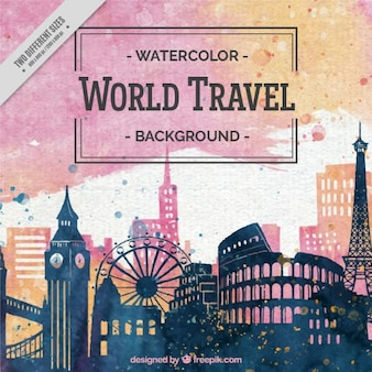 Beautiful watercolor background of travel around the world