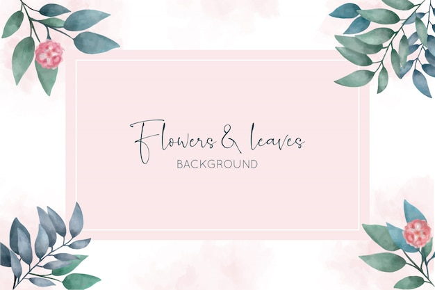 Beautiful watercolor background with flowers and leaves
