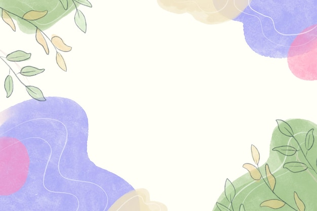 Beautiful watercolor background with leaves and shapes