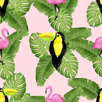 Beautiful watercolor bird floral summer seamless pattern
