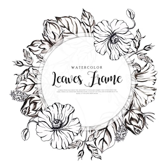 Beautiful watercolor black and white floral frame