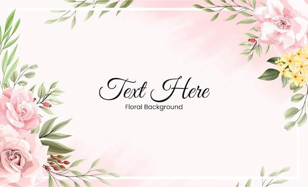 핑크 꽃과 함께 아름 다운 수채화 테두리 프레임