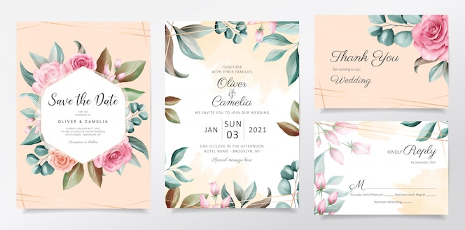 Beautiful watercolor botanic wedding invitation card template set with flowers decoration.
