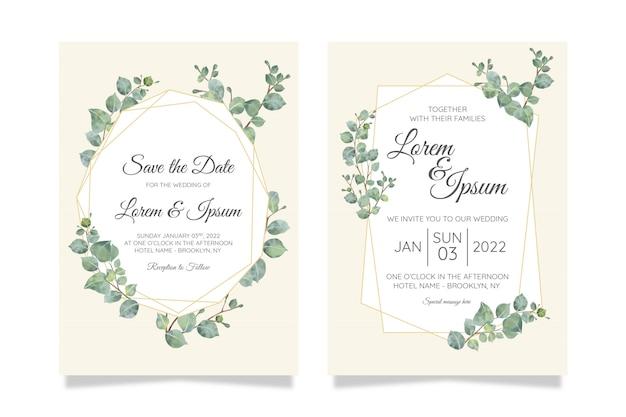 Beautiful watercolor botanic wedding invitation card template set with flowers decoration