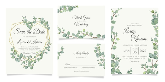 Beautiful watercolor botanic wedding invitation card template set with flowers decoration
