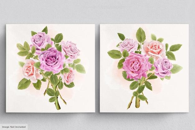 Красивый акварельный букет роз