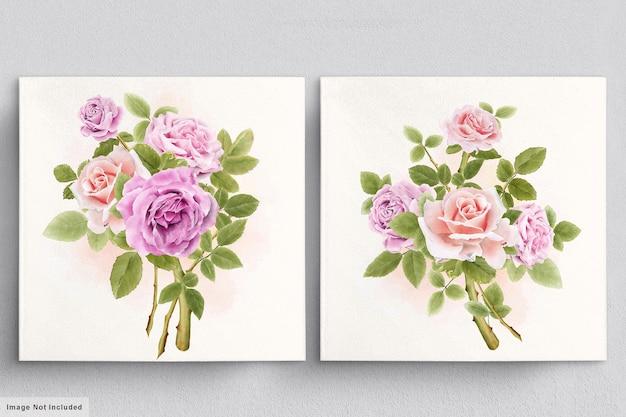 장미의 아름다운 수채화 꽃다발