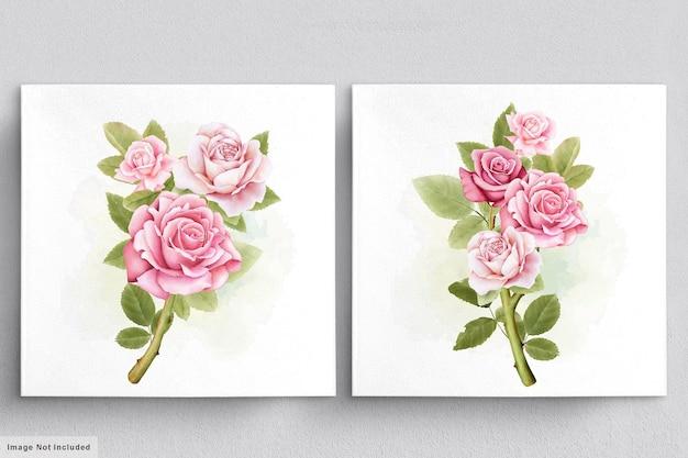 バラの美しい水彩花束