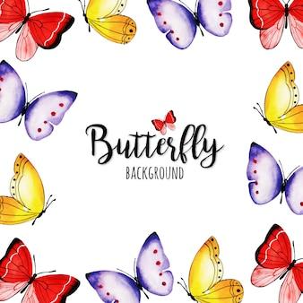 美しい水彩蝶の背景