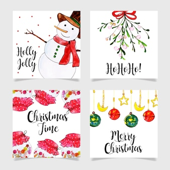 Beautiful watercolor christmas cards collection