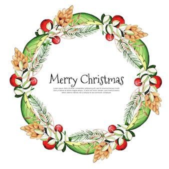Beautiful watercolor christmas floral frame