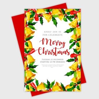 美しい水彩クリスマスグリーティングカード