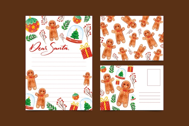 Beautiful watercolor christmas stationery template