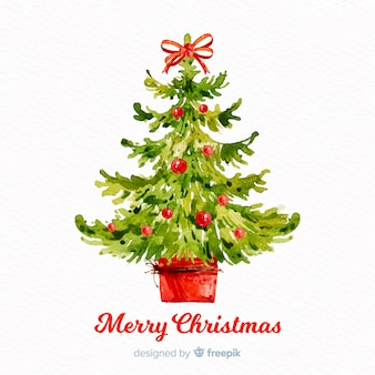 Beautiful watercolor christmas tree