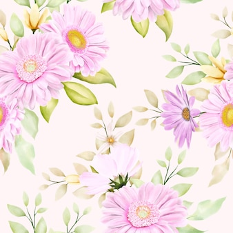 Beautiful watercolor chrysanthemum seamless pattern