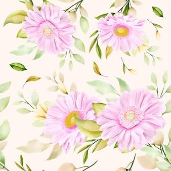 아름 다운 수채화 국화 원활한 패턴